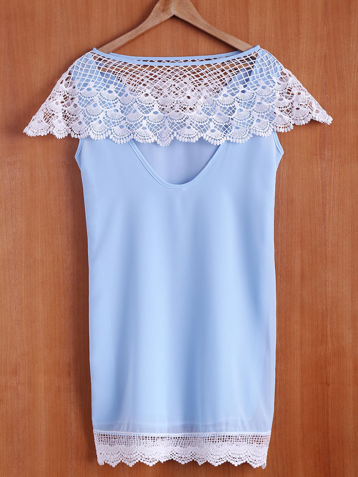 Stylish Sleeveless Scoop Neck Spliced Hollow Out Women's Dress - LIGHT BLUE S