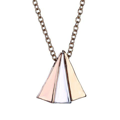 Simple Spliced Triangle Shape Pendant Necklace For Women - GOLDEN