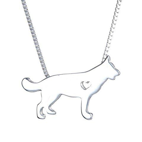 Simple Heart Siberian Dog Shape Pendant Necklace For Men - SILVER