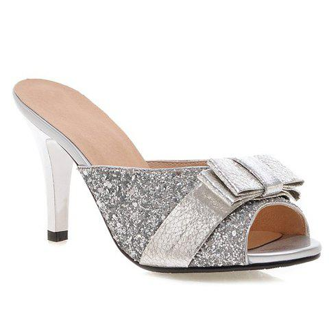 Trendy Bow and Sequined Cloth Design Women's Slippers - SILVER 39