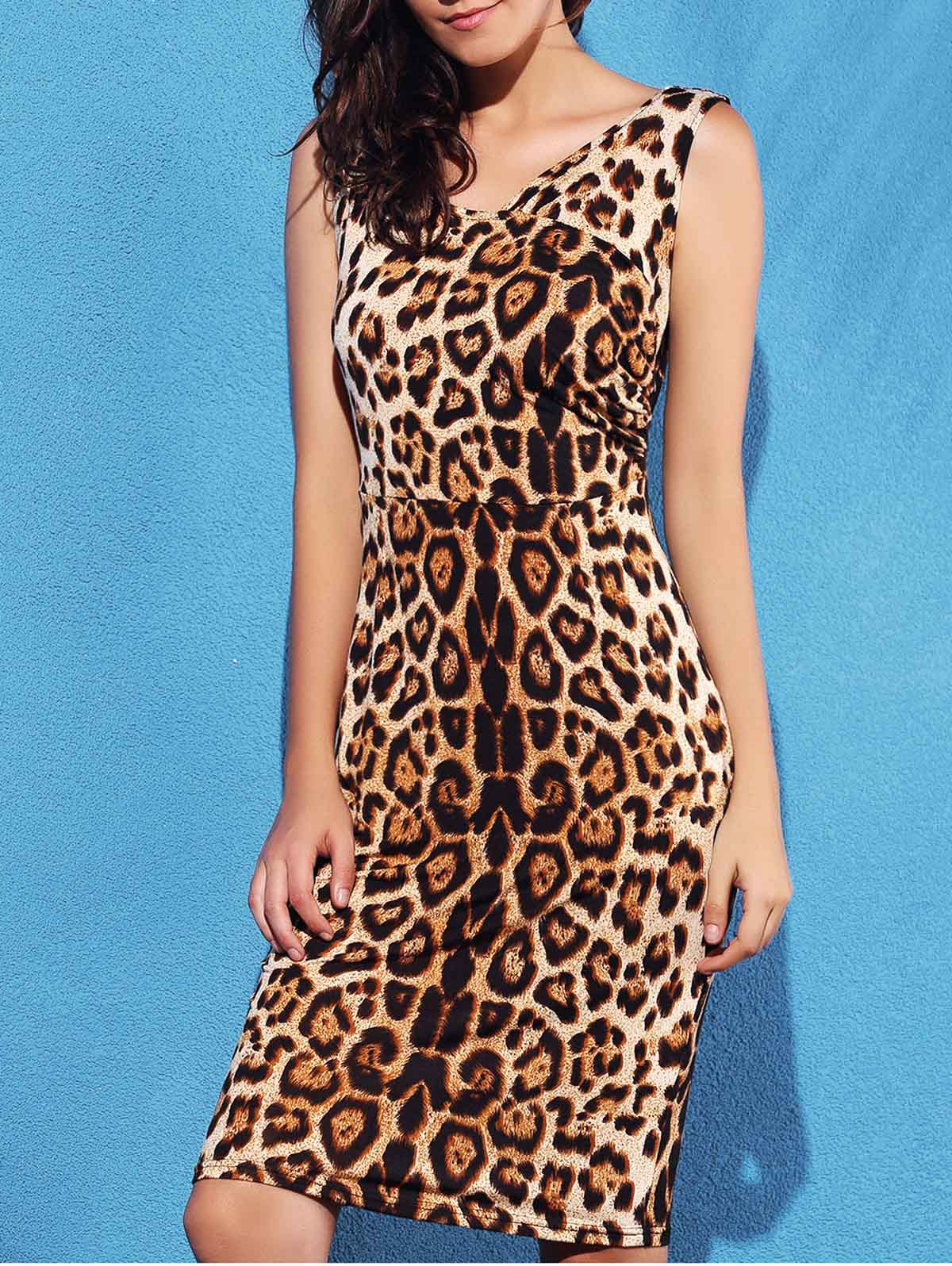 Sexy Women's V-Neck Leopard Sleeveless Dress - LEOPARD L