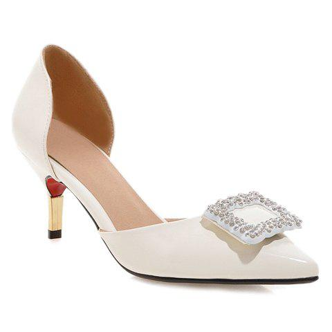 Ladylike Rhinestones and Stiletto Heel Design Women's Pumps - WHITE 37