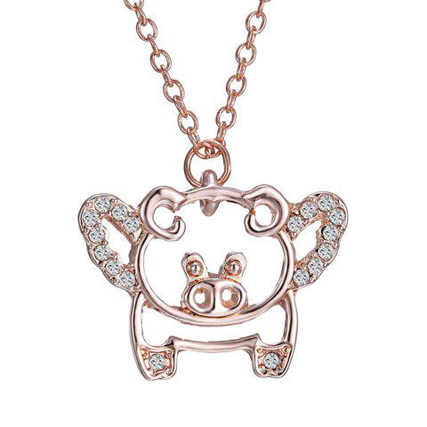 Simple Rhinestoned Flying Pig Shape Pendant Necklace For Women - ROSE GOLD