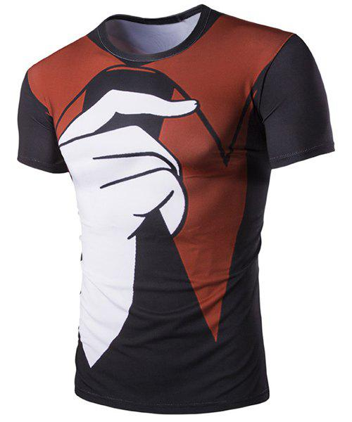 Pullover Color Block Finger Printed T-Shirt For Men - COLORMIX L