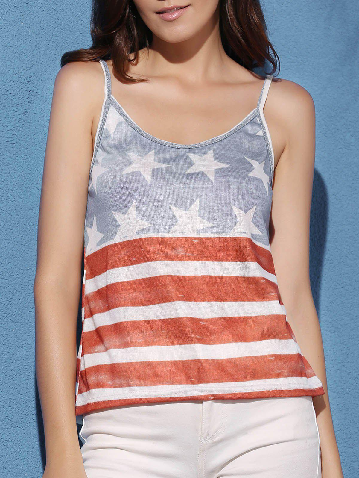 American Flag Cami Tank Top - COLORMIX S