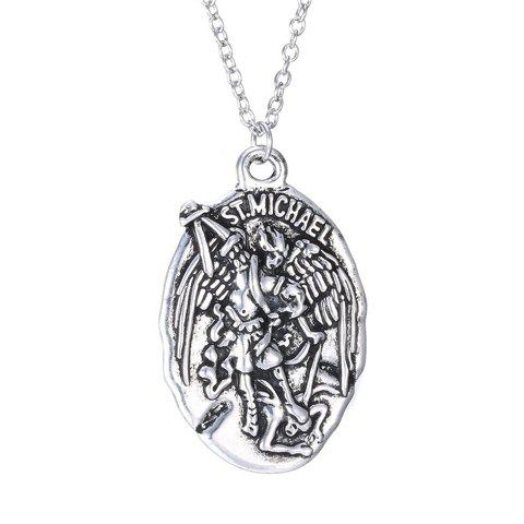Simple Emboss Letters Angel Warrior Pattern Pendant Necklace For Men - SILVER