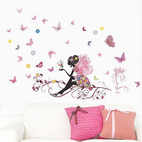 Stylish Butterflies Fairies Pattern Wall Stickers For Bedroom Livingroom Decoration
