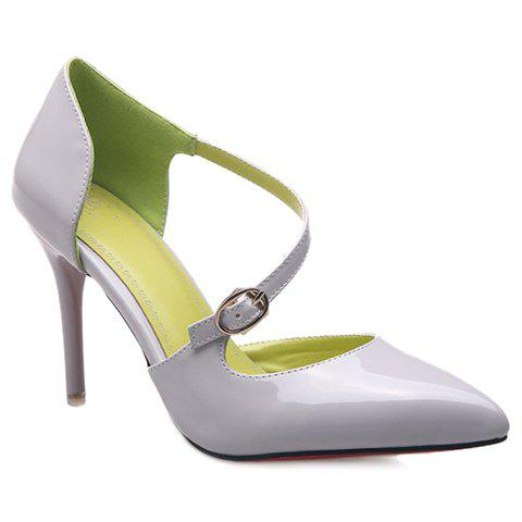Fashion Solid Color and Pointed Toe Design Women's Pumps - GRAY 37
