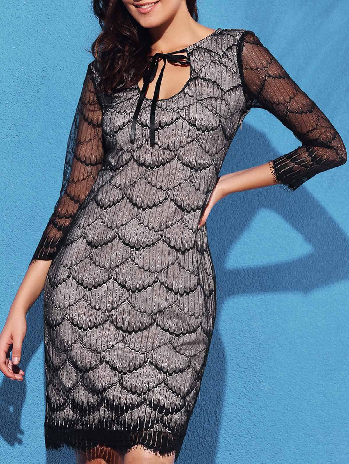 Graceful Women's Fish Scale Hollow Out 3/4 Sleeve Dress - BLACK M