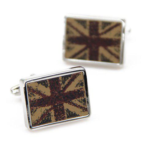 Pair of Stylish England Flag Pattern Men's Rectangle Alloy Cufflinks - KHAKI