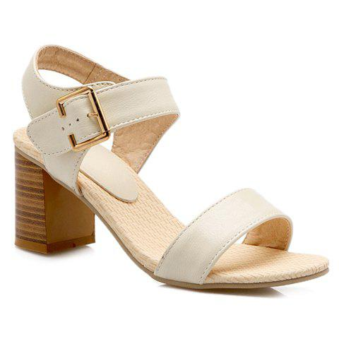 Simple Chunky Heel and Solid Color Design Women's Sandals - OFF WHITE 36