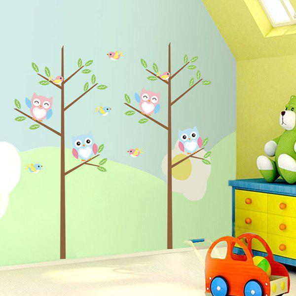 Stylish Cartoon Night Owl Tree Pattern Wall Stickers For Children's Bedroom Decoration - COLORMIX