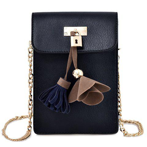Leisure Lock and Tassels Design Women's Crossbody Bag - BLACK