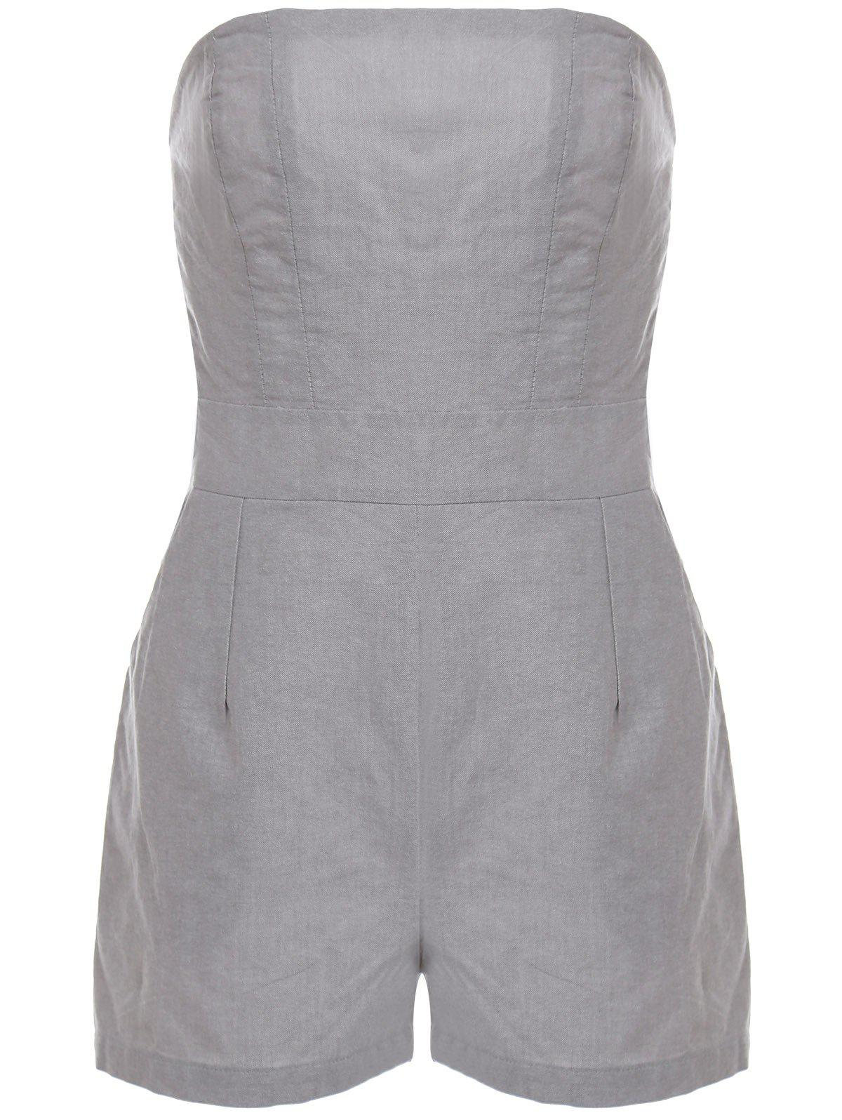 Stylish Strapless Sleeveless Solid Color Pocket Women's Playsuit - GRAY XL