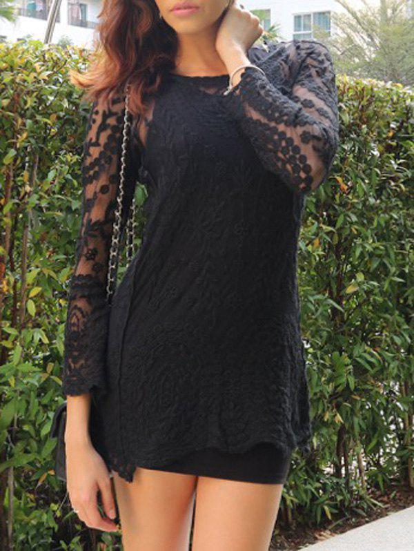 Alluring Scoop Collar Long Sleeve Solid Color See-Through Lace Women's Dress