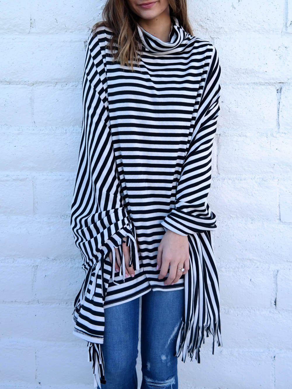 Stylish Cowl Neck 3/4 Sleeve Fringed Striped Women's Poncho Blouse - WHITE/BLACK ONE SIZE(FIT SIZE XS TO M)