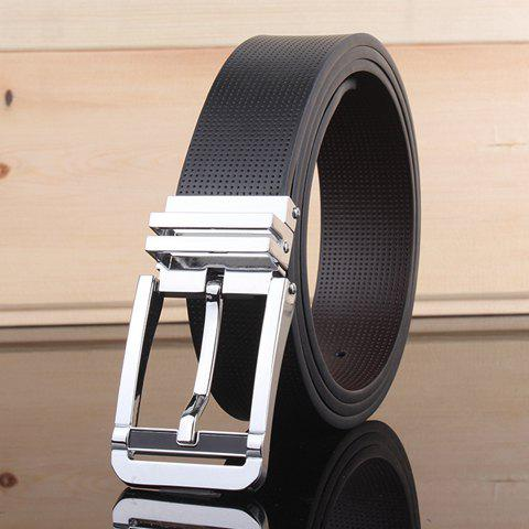 Stylish Pin Buckle Small Hole Faux Leather Wide Belt For MenAccessories<br><br><br>Color: BLACK