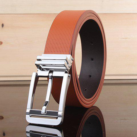 Stylish Pin Buckle Small Hole Faux Leather Men's Wide Belt - ORANGE