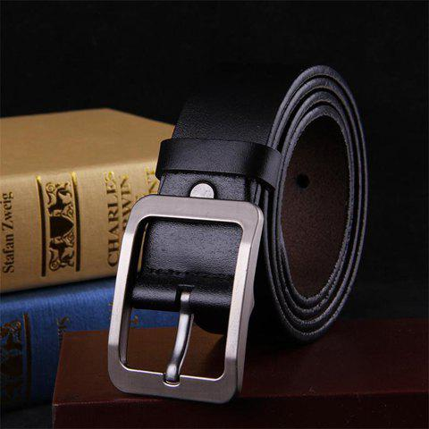 Stylish Pin Buckle Solid Color Faux Leather Men's Wide Belt - BLACK