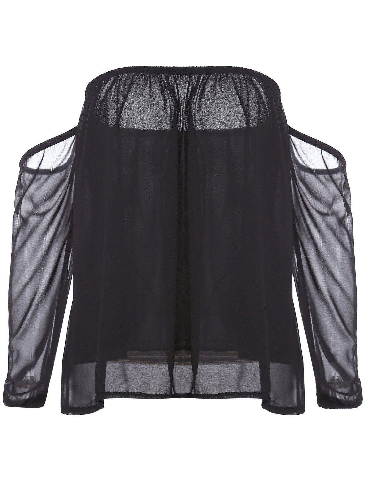 Stylish Off-The-Shoulder Long Sleeve Black See-Through Chiffon Women's Blouse - BLACK S