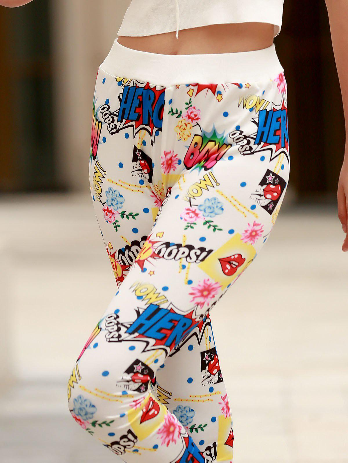 Stylish Colorful Scrawl Print Leggings For Women - WHITE ONE SIZE(FIT SIZE XS TO M)