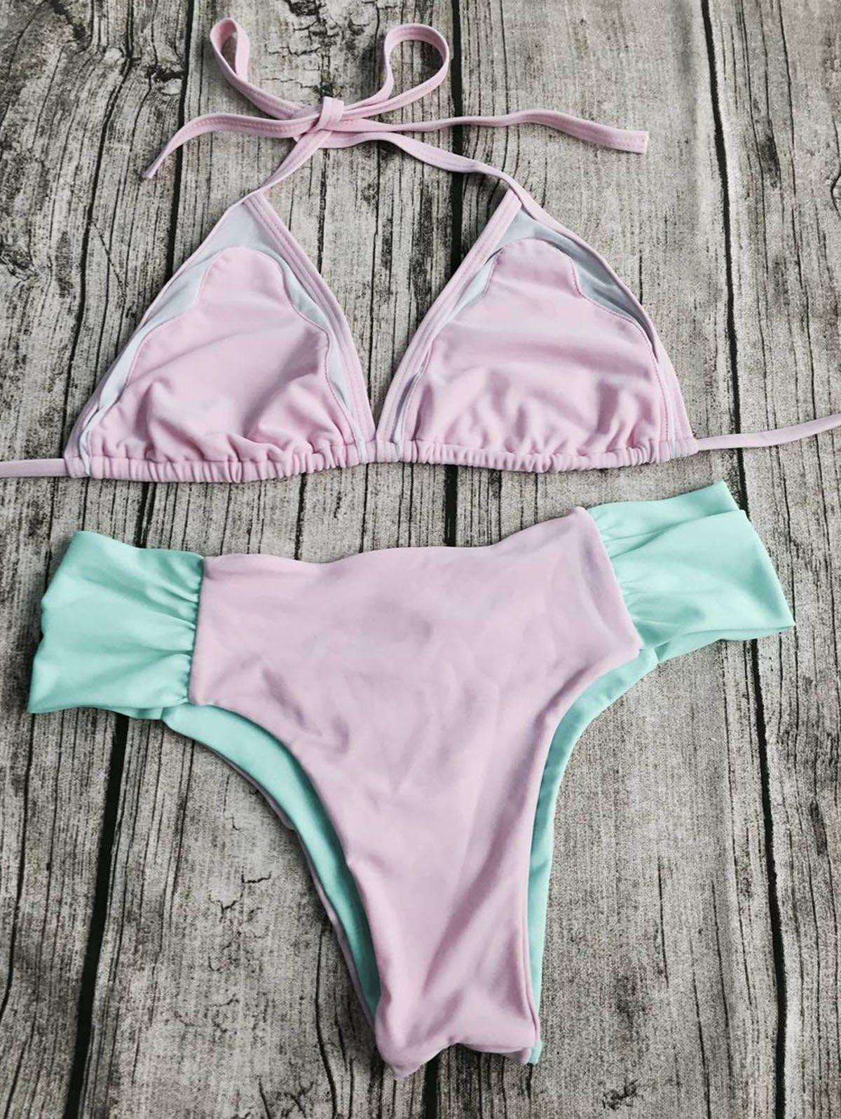 Sweet Style Halter Neck Color Block Backless   Women's Bikini Set - PINK S