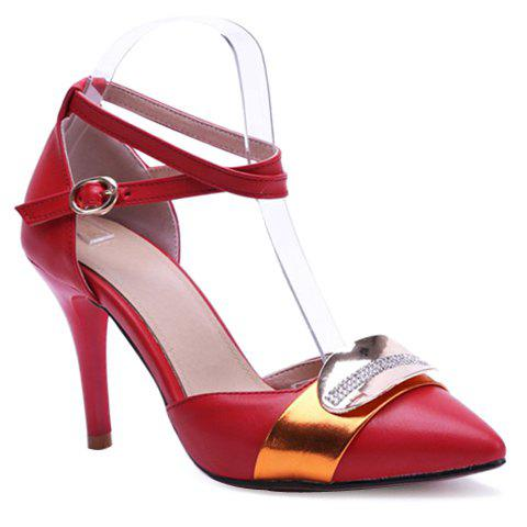 Stylish Colour Matching and Metal Design Women's Pumps - RED 39