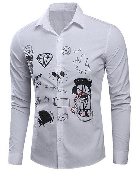 Scrawl Printed Turn-Down Collar Long Sleeve Men's Shirt - WHITE M