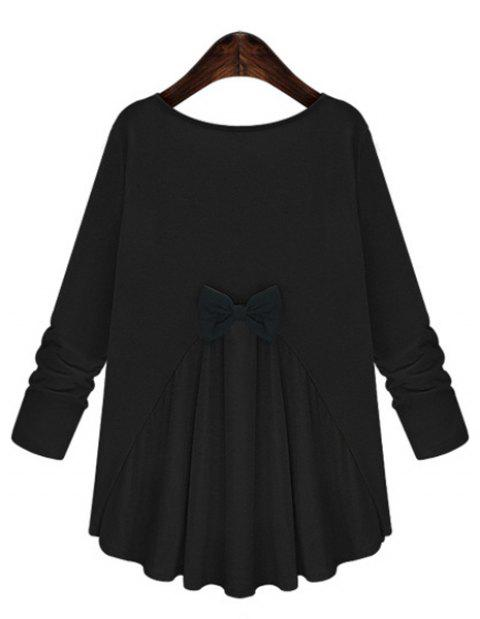 Trendy Women's Scoop Neck Bowknot Embellished Long Sleeves T-Shirt - BLACK 3XL