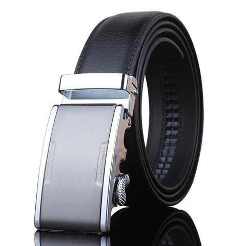 Stylish Metal Automatic Buckle Men's Black Wide Belt - BLACK