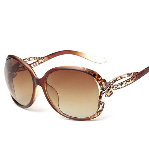 Chic Small Bow Embellished Leopard Pattern Women's Ombre Sunglasses - TEA COLORED