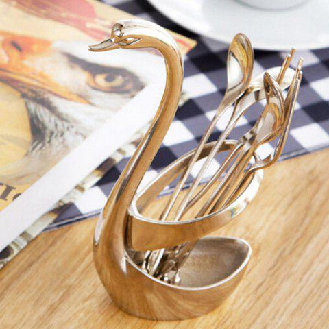 Set of High Quality Swan Shape Zinc Alloy Fork Spoon Tableware Cooking Storage - SILVER