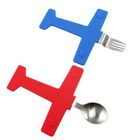 Set of High Quality Cooking Tool Cartoon Plane Shape Silicone Fork Spoon Tableware - BLUE/RED