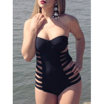 Sexy Halter Solid Color Hollow Out One-Piece Women's Swimwear