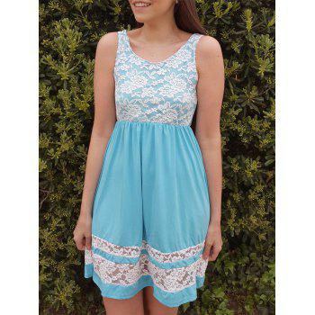 Refreshing Sleeveless Scoop Collar Lace Spliced Color Block Women's Sundress