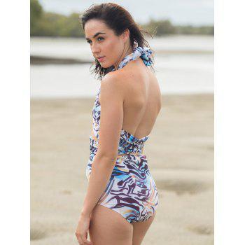 Fashionable Halter High-Waisted Print Bikini Set For Women - AS THE PICTURE M