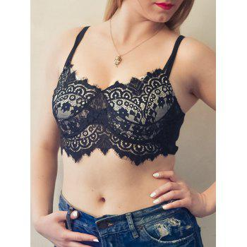 Sexy Spaghetti Strap Hollow Out Solid Color Lace Women's Tank Top
