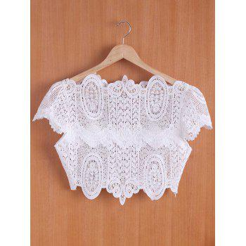 Chic Women's Stand Collar White Hollow Out Short Sleeve Crop Top