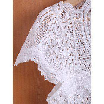 Chic Women's Stand Collar White Hollow Out Short Sleeve Crop Top - S S