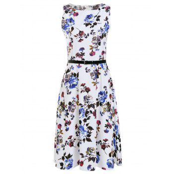 Trendy Sleeveless Round Collar Slimming Floral Print Women's Dress