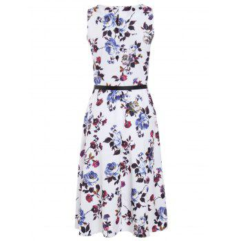 Trendy Sleeveless Round Collar Slimming Floral Print Women's Dress - WHITE M