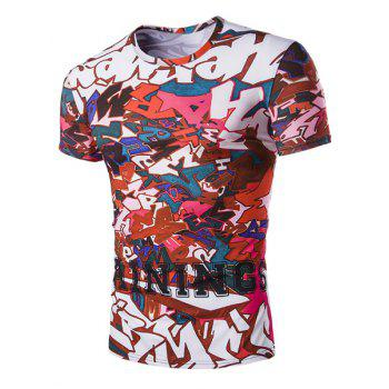 Slimming Letters Printed Round Neck T-Shirt For Men