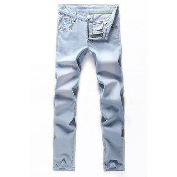 Fashion Zip Fly Straight Legs Denim Pants For Men - LIGHT BLUE 36