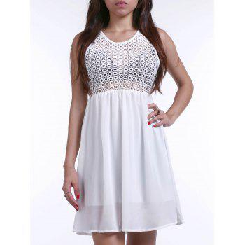 Stylish Sleeveless Crochet Chiffon Splicing Dress For Women