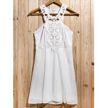 Trendy Backless Lace Splicing Sleeveless Cut Out Dress For Women