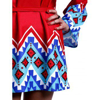 Stylish Scoop Neck Bell Sleeve Geometrical Print Dress For Women - RED XS