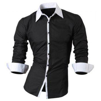 Vogue Shirt Collar Color Block Button Fly Slimming Men's Long Sleeves Shirt