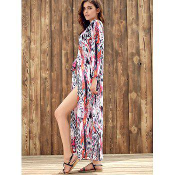 Plunging Neckline Long Sleeve Print Dress - COLORMIX S