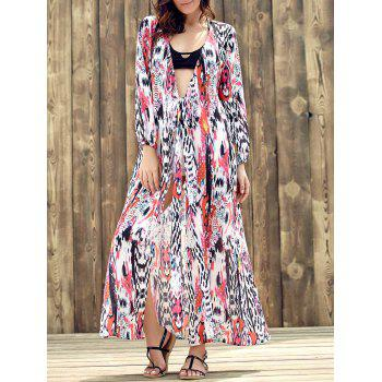 Ethnic Women's Plunging Neckline Long Sleeve Print Dress