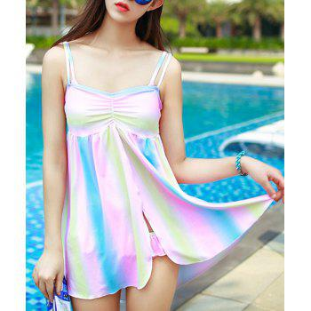 Sweet Women's Spaghetti Strap Rainbow Three Piece Swimsuit